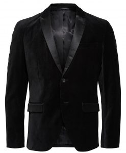 SELECTED Velour Slim Fit - Blazer Mænd Sort