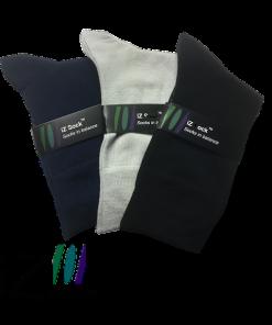 3 pak iZ Sock bambus - 3 flotte farver, navyblå, sort og lysegrå