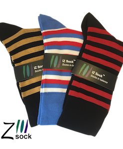 3 pak iZ socks bambus, lækre stribet strømper (sort-brun, sort-rød, blå-rød-hvid)