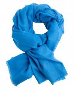 Azurblåt twill vævet pashmina tørklæde