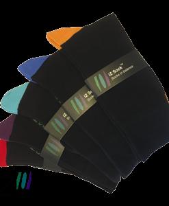 Bambus strømper med farvet hæl og tå fra iZ Sock - 5 pak
