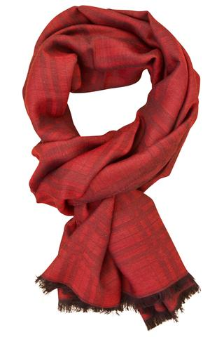Bordeaux ternet tørklæde i silke og uld
