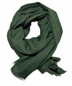 Flaske grønt tørklæde i fin uld