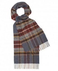 Gråblåt skotskternet halstørklæde