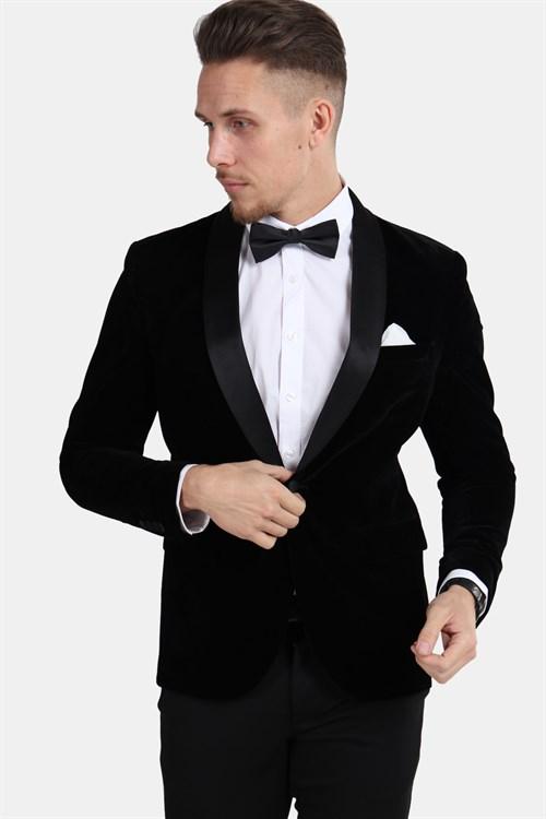 Only & Sons Teo Velour Tuxedo Blazer Black
