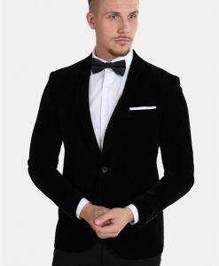 Only & Sons Velour Teo Slim Blazer Black