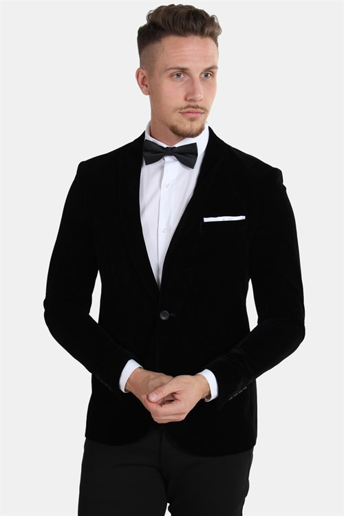 Only & Sons Velour Teo Slim Blazer Black