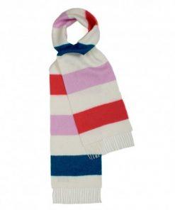 Råhvidt halstørklæde med striber i pink/rød/blå