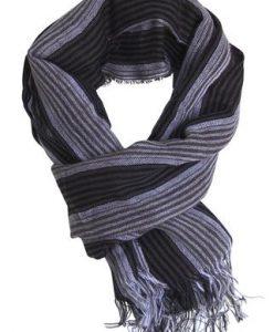 Stribet tørklæde i sort, grå og taupe