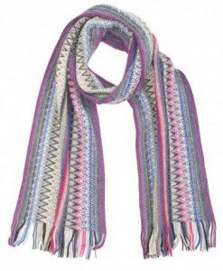 Stribet tørklæde i violette og blå nuancer