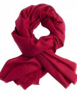 Vinrødt twill vævet pashmina tørklæde