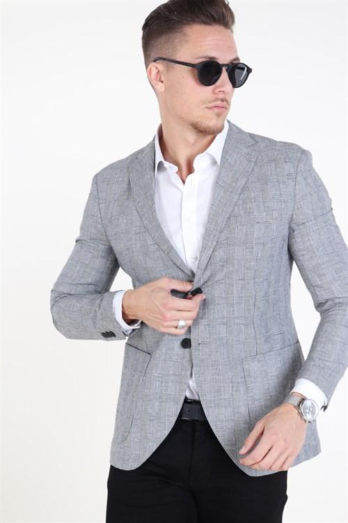 Jack & Jones Premium Julian Check Blazer Light Grey Melange