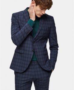 Selected Slim-Mylo Logan Blazer Check Navy Blue