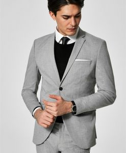 Selected Slim-Mylo Logan Blazer Light Grey Melange