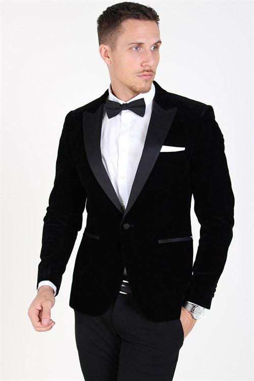 Only & Sons Manny Velvet Tux Blazer Black