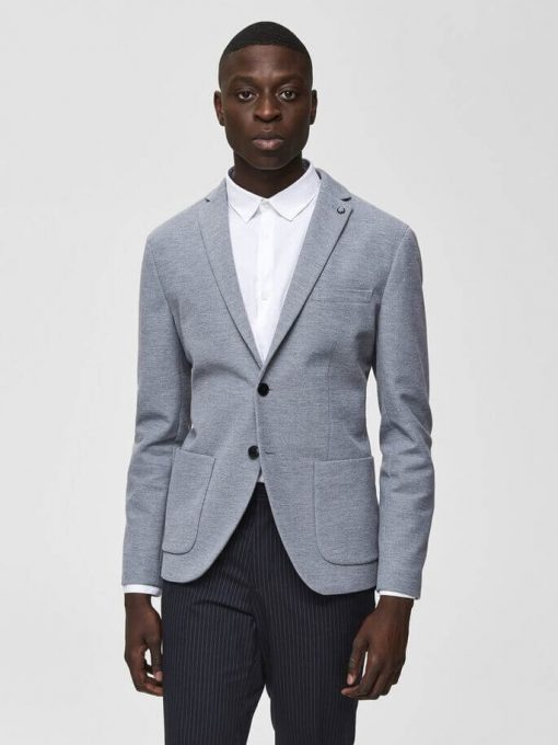 Enkelttradet Blazer - Light Grey Melange