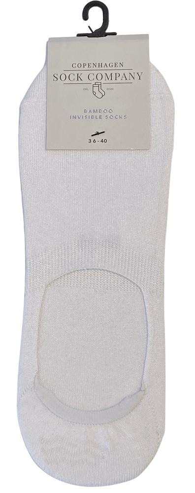 CSC- Footies med silikone hæl - Hvid bambus